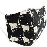 Quintetto(クインテット)日本製 黒ネコ柄 麻 マスク 猫柄 布 洗える 洗濯 ファッションマスク 11-msk-101 (ブラック)