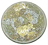 丸和貿易 インテリア マーレモザイク ガラスラウンドプレート ゴールドビーチ 400720802