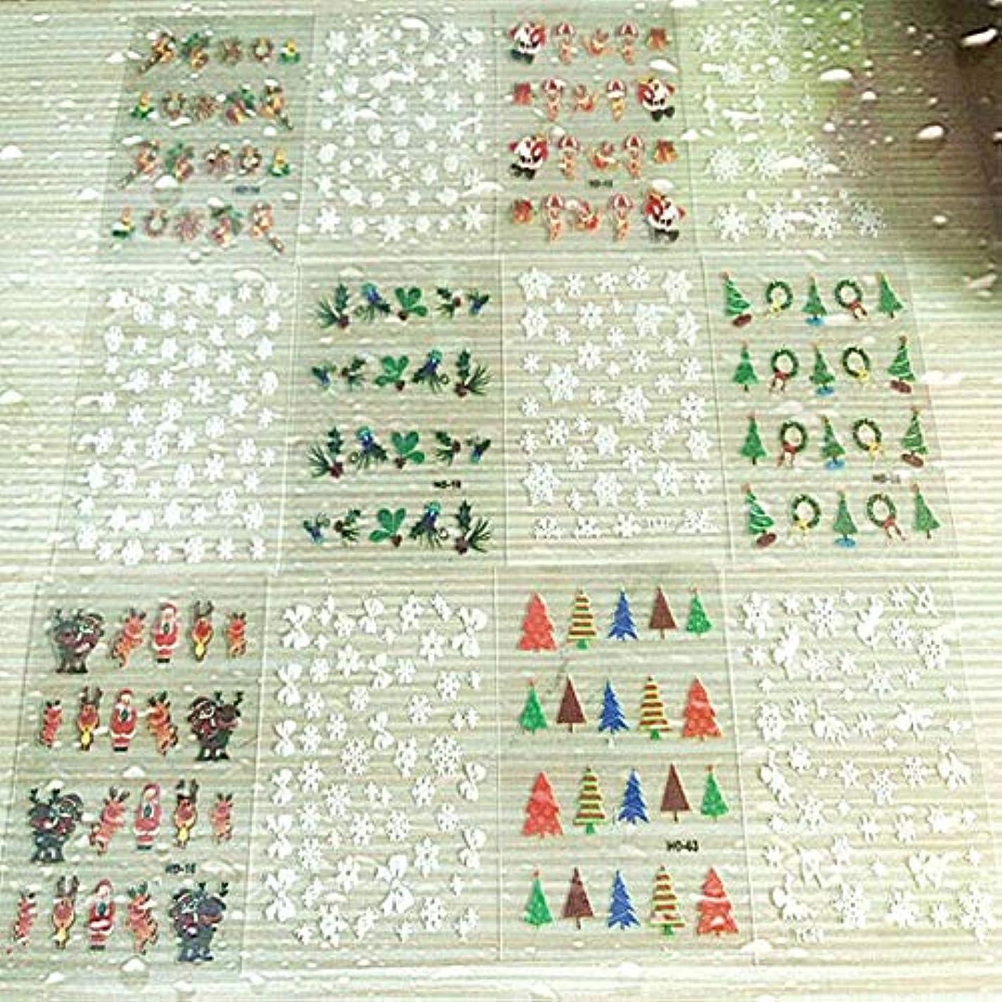 中絶細断保証ACHICOO ネイルアート ステッカー セット 混合 3D クリスマス ステッカー ネイルデコレーション マニキュア デカール 12個/セット 2#
