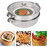 27cm/11 Inches 2-Layer Steamer Pot, Stainless Steel Cookware Steamer Pot Cooker Double Boiler Soup Steaming Pot