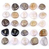 (イスイ)YISHUI自然 彫刻 チャクラ リバーストーン ルーンストーン セット 宝石 クラフト25個セット ベルベットバッグ W3471