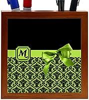 """Rikki Knightレター"""" M """"ライムグリーンモノグラムダマスクBowデザイン5インチタイル木製タイルペンホルダー( rk-ph41908)"""