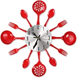 "CIGERA 14"" Kitchen Cutlery Wall Clock with Forks and Spoons for Home Decor,Red"