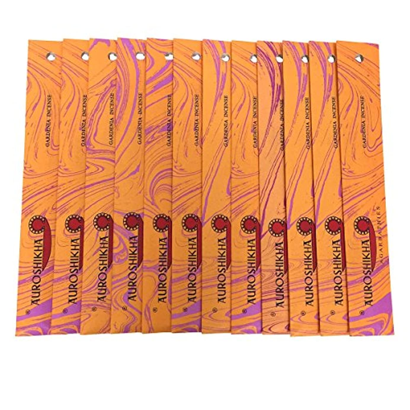 アフリカ瞑想的スクリーチAUROSHIKHA オウロシカ(GARDENIAガーデニア12個セット) マーブルパッケージスティック 送料無料