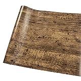 W-Space[ダブリュー スペイス] かんたん貼付シールタイプ 木目 調 壁紙 3D立体 45cm×10m リフォーム 古典 ウォールステッカー 防水 オリジナル貼り方説明書付き(ブラウン)