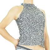 ★HD58799 アメスリスパンコールトップス フリー シルバー   ダンス 衣装 ハイネック ノースリーブ ステージ衣装