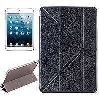 Genry iPad mini 4のためのホールダーが付いている変圧器様式の絹の質感の横のフリップ無地の革の箱 (色 : ブラック)