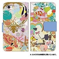 スマホケース 手帳型 [Spray 402LG] ケース かわいい 花柄 動物 エレガント デザイン 0013-D. プードルと熱帯魚 402 lg カバー 手帳 スプレイ スマホゴ