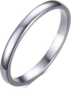 Rockyu ブランド 人気 タングステンリング 2mm シルバー シンプル 指輪 おしゃれ ファッションリング 11号