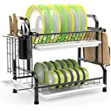 Dish Drying Rack, Haundry Stainless Steel 2-Tier Dish Rack with Utensil Holder, Cutting Board Holder and Dish Drainer for Kit