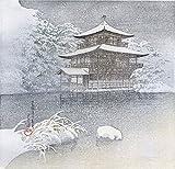 Japaneseアート印刷金閣寺」、イブニング雪