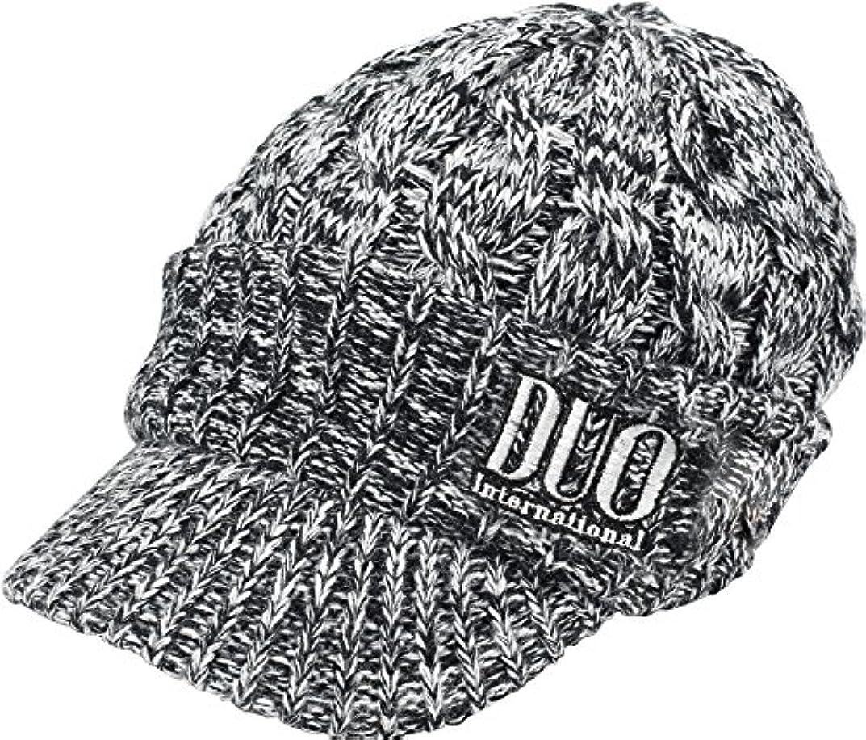 九時四十五分検出可能プロペラDUO(デュオ) 帽子 DUO刺繍ロゴツバ付ニットキャップ ブラック/ホワイト