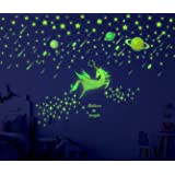 Sionoiur 214pcs Glow in The Dark Stars Unicorn and Planets Wall Decals Colorful Wall Stickers Glowing Ceiling Decals Mural fo