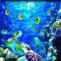 LJJLM 水中世界のサンゴ魚のフローリング壁画滑り止め防水増粘自己接着ステッカー-420X280cm