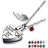 Heart Cremation Urn Necklace for Ashes Urn Jewelry Memorial Pendant with Fill Kit and Gift Box - Always on My Mind Forever in