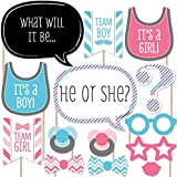 Chevron Baby Gender Reveal - Photo Booth Props Kit - 20 Count