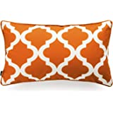 Hofdeco Indoor Outdoor Lumbar Cushion Cover ONLY, Water Resistant for Patio Lounge Sofa, Fall Orange White Zigzag Chevron, 30