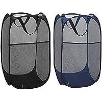 服、黒と青 2 折りたたみ式ポップアップかご側ポケット、鉄筋を運ぶと耐久性のあるメッシュ バスケット服ランドリー バスケット収納袋付きのパックを汚れを処理します。