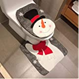 HESHIFENG. party & accessories Christmas Snowman Santa Deer Toilet Seat Cover and Rug Set Christmas Bathroom Decorations Snow
