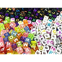 ノーブランド品 アルファベット ビーズ キューブ形 6mm 300個 3タイプ (AP0005)