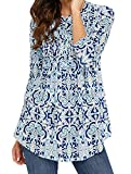 (チェイス シークレット)Chase Secret レディース チュニック カットソー トップス カジュアル 長袖 花柄 体型カバー ブルー Sサイズ