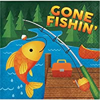 Creative Converting 329315Camp Out誕生日192-count Gone Fishin ' Lunchペーパーナプキン
