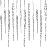 """24 Piece Set Kurt Adler 3.5""""-5.5"""" Assorted Clear Glass Icicle Ornaments - Set of 2"""