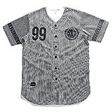 【R1601K303】 ロカウェア ROCAWEAR ゲームシャツ ベースボールシャツ 半袖シャツ ストライプ バスケットボール ナンバー 99 大きいサイズ 正規品