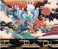 Bzbhart 3D壁紙中国のレトロなドラゴンとフェニックスの背景の壁の家の装飾 壁の壁画の壁紙リビングルーム-300cmx210cm