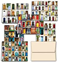 Display of Doors - 36 Note Cards for $12.99 - 6 Designs - Blank Cards - Off-White Ivory Envelopes Included by Note Card Cafe