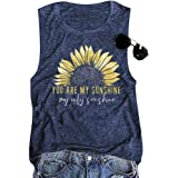 You are My Sunshine Women Sunflower Workout Tank Tops Athletic Holiday Vest Shirt Tee