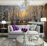 Lcymt ホームデコレーション壁紙自然雪の森写真の壁紙壁画3Dリビングルームの寝室の自己接着ビニール/シルクの壁紙-280X200Cm