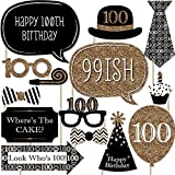 Adult 100th Birthday - Gold - Photo Booth Props Kit - 20 Count