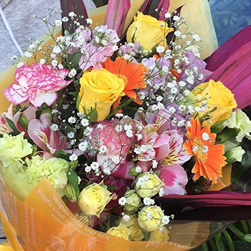季節花を使用した ビタミン系カラーのボリューム花束 誕生日 記念日 結婚祝い 発表会 卒業式 クリスマス 花 ギフト フラワーギフト プレゼント