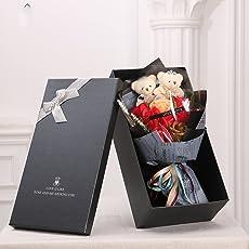 MINENA ソープフラワー 石鹸 花 バラ 造花 花束 二つクマの人形が付き 父の日 誕生日 結婚祝い 結婚記念日のプレゼントにお勧め