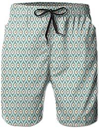 メンズ青い葉オレンジの花 ビーチパンツ 水着 ハーフスイムウェアサーフパンツ ボードショーツ 水陸両用 吸汗速乾
