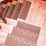 JUSH 蛍光材質 滑りズレ防止 階段マット おくだけ吸着 防音 消臭 ペットと子供により傷防止に 55X22X4cm  (15枚組, ブラウン)