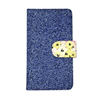 Y!mobile Nexus5 EM01L(4) 手帳型ケース smh-081 (B) おしゃれ かわいい カードポケット 携帯カバー スタンド機能 財布型カバー スマホケース マグネット ストラップ デコケース デコ スワロフスキー 全機種対応 送料無料 カバー スマホカバー ケース 人気 花柄 フラワー 花 デニム シンプル