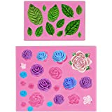 Mity rain Roses Collection Fondant Mold-Rose Flower and Leaves Shapes Silicone Mold for Sugarcraft Cake Decoration, Cupcake T
