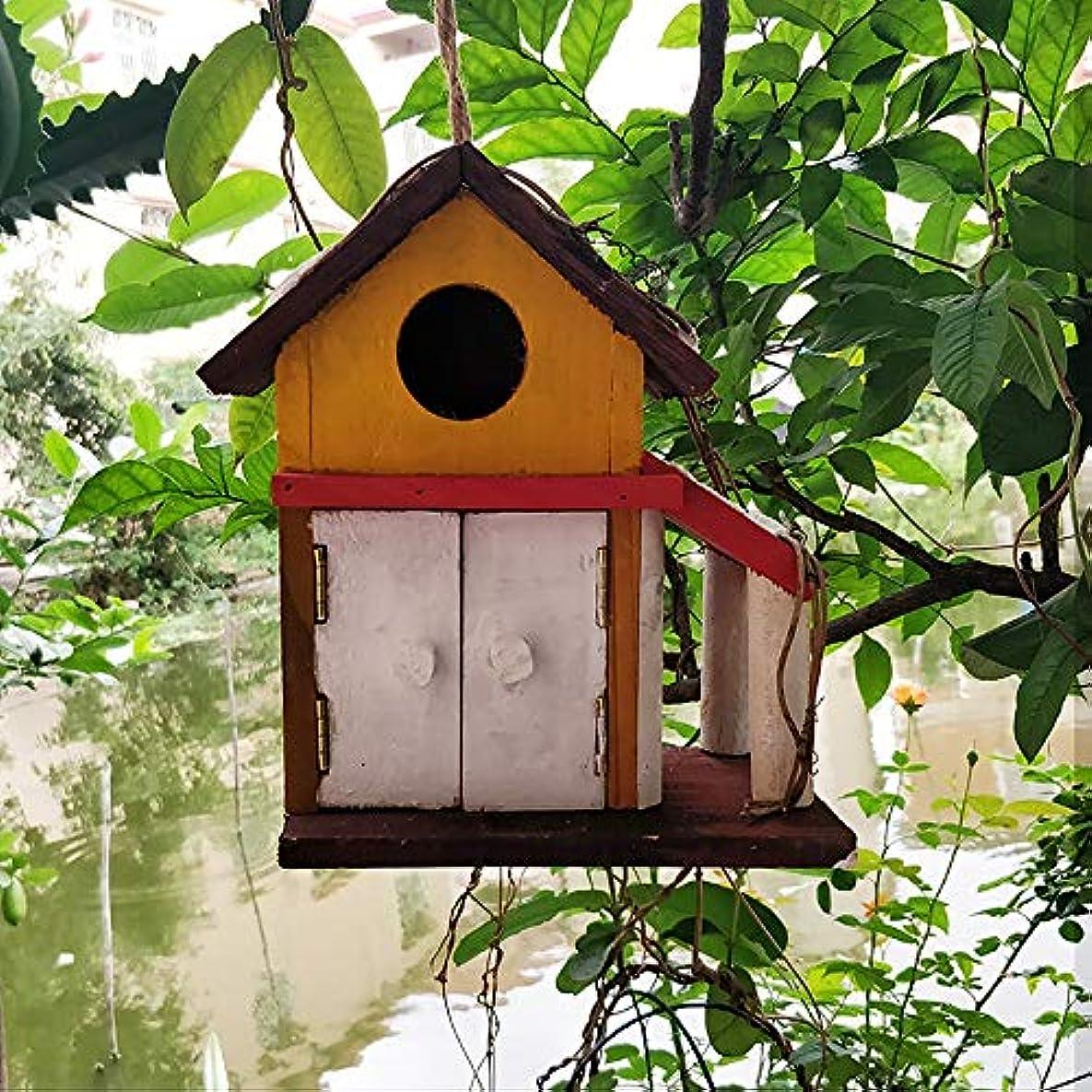 合計ライセンス抹消バードハウス カントリースタイルのコテージバードハウスハンギング装飾のための小さな鳥の巣箱キャビンレトロスティープルクリエイティブ屋外木製巣箱バードハウス 庭の装飾 公園 室内 屋外 (Color : Natural, Size : 19X9.5X21CM)
