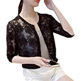 Macondoo Women's Thin Button-Down Sheer Slim Lace Bolero Cardigan Shrugs