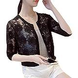 Macondoo Women's Thin Button-Down Sheer Slim Lace Bolero Cardigan Shrugs