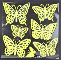 Touch of Nature 4-Piece 3D Glow-in-The-Dark Stickers Butterfly Assortment, Fluorescent Yellow by Touch of Nature
