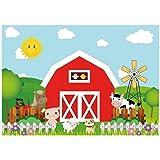 Allenjoy 7x5ft Polyester Cartoon Farm Barnyard Animal Theme Backdrop Red Barn Little Farmer Birthday Party Banner Cake Table