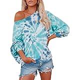 KOOBETON Womens Off Shoulder Tie Dye Printed Sweatshirt Long Sleeve Pullover Top
