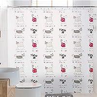 シャワーカーテン バスカーテン 防水防カビ加工 風呂カーテン おしゃれ 目隠し 間仕切り 保温 取り付け簡単 (ねこ柄…