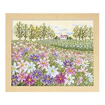 オリムパス製絲 クロスステッチ 刺しゅうキット フラワーガーデン 花の咲く風景 コスモスの丘 ベージュ 7310