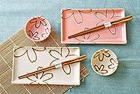 Japanese Sakura Cherry Blossomsデュアルカラー長方形寿司プレートボウル箸ディナーセットの2つのギフトボックス版日本製