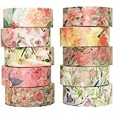 Yubbaex 花柄マスキングテープ暖かくて寒い 15mm幅 x 10巻 薄いです プレゼント包装、DIY工芸品、ノートの装飾に使える (暖かいトーン)
