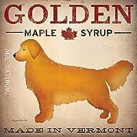 Golden Dog Maple Syrup by Ryan Fowler 12x 12Signs犬イエローGolden Labrador動物アートプリントポスターヴィンテージ広告